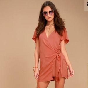 Lulus Vashti Rusty Rose Wrap Dress Sm